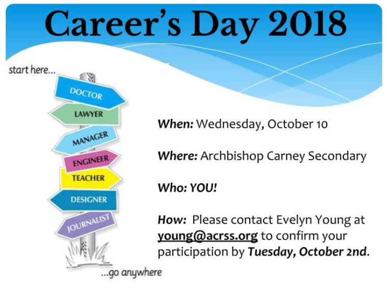 Archbishop Carney Career Day October 10th