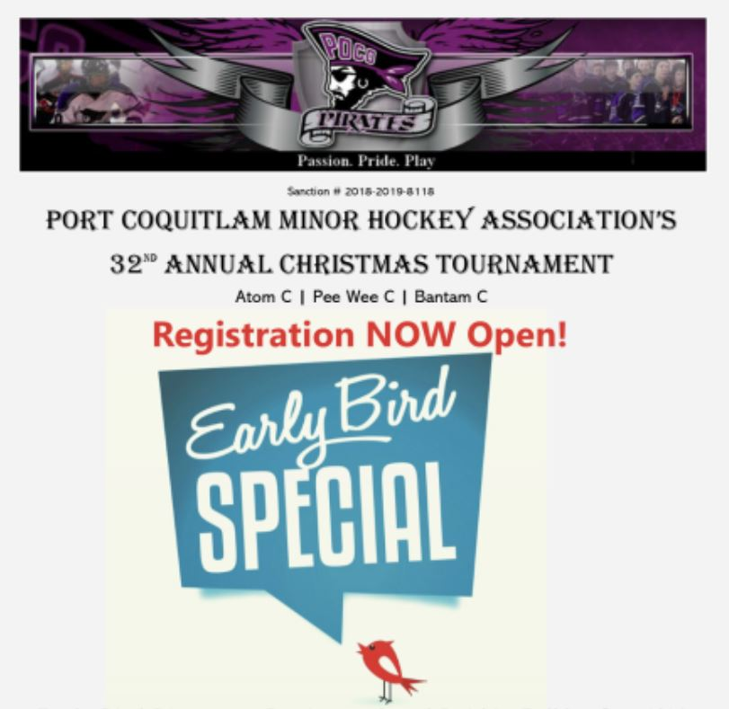 Early Bird Prices for Hockey Christmas Tournament