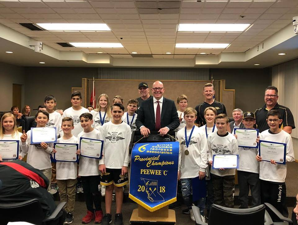 BC PROVINCIAL CHAMPIONS, POCO EFC & SAINTS LACROSSE, HONOURED AT MAYOR MOORE'S FINAL COUNCIL SESSION: