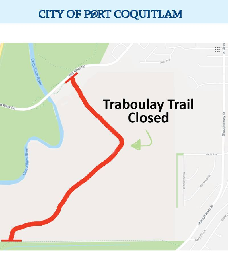 PoCo Trail Remains Closed Beside Kwikwetlem Business Park Development